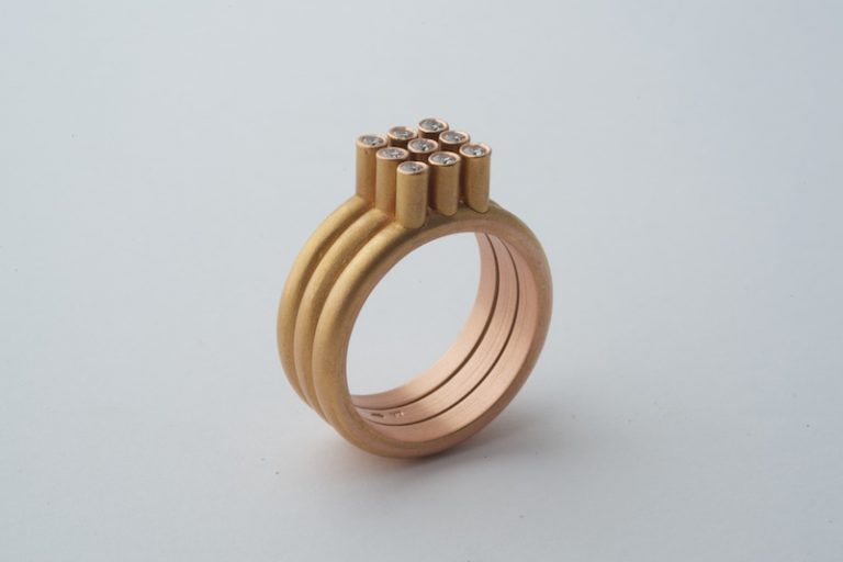 3x3 ring in rose met 9 diamanten